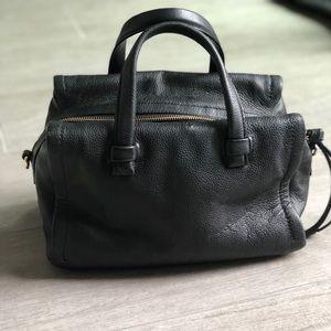 Black leather banana republic crossbody satchel